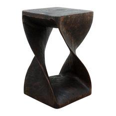 Haussmann® Original Wood Twist Stool 12 X 12 X 20 In High Mocha Oil