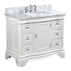 "Katherine Bath Vanity, Base: White, Top: Carrara Marble, 42"""