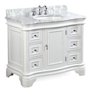 "Katherine Bath Vanity, Base: White, 42"", Top: Carrara Marble"