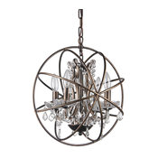 Dover 4-Light Antique Bronze Globe Cage Chandelier With Crystals, 15.5""