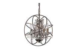 """Dover 4-Light Antique Bronze Globe Cage Chandelier With Crystals, 15.5"""""""