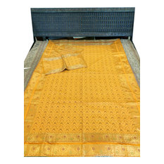 Mogulinterior - Elephant Bedding Indian Sari Coverlet Zari Ensemble, Twin Size - Quilts And Quilt Sets