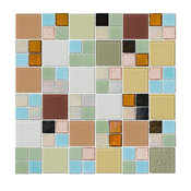 """12""""x12"""" Whites Greens Blues and Neutral Glass Tile Mix, Full Sheet"""