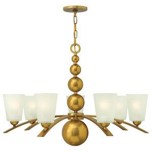 7-Light Spheres Chandelier, Vintage Brass