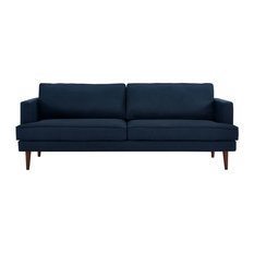 Upholstered Polyester Fabric Sofa With Tapered Wood Legs Blue