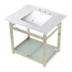 VWP3122W8B6 31-inch Ceramic Console Sink 8-inch 3-Hole White/Polished Nickel