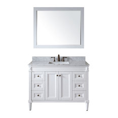 "Virtu Tiffany 48"" Single Bathroom Vanity, White With Marble Top, With Mirror"