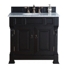 "36"" Vanity Cabinet, Antique Black, Carrara White Stone Top"