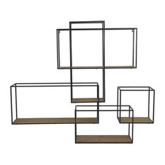 Pomax Structure Metal Wall Shelf With Wooden Shelves