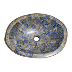Natural Boulder Granite Vessel Sink With Blue Sodalite Inlay, Design 3