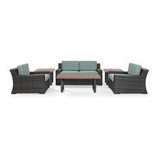 Beaufort 6 Piece Outdoor Wicker Seating Set With Mist Cushion By Crosley
