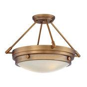 Lucerne 3-Light Semi-Flush Mount, Warm Brass