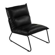 Modern Armless Accent Chair Horizontal Tufted Padded Faux Leather Seat Black