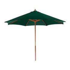 Outdoor Patio Market Umbrella, Cherry Wood, 9', Hunter Green