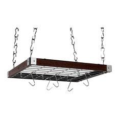 Square Hanging Pot Rack, Espresso Wood