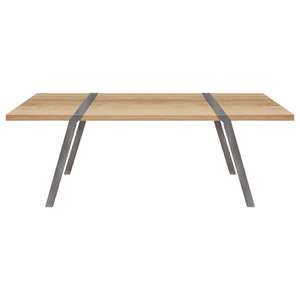 6-Seater Solid Oak Dining Table, Light Steel