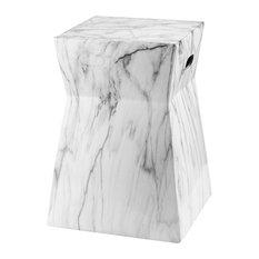 Studio Seven Artesia Marble Garden Stool, White/Black