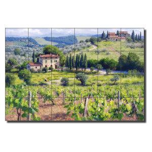 Carey Tuscan Vineyard Ceramic Tile Mural