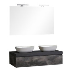 Valentina Wall-Mounted Bathroom Vanity Unit With 2 Sinks, 120 cm