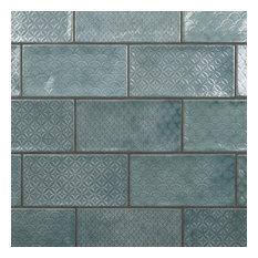 SomerTile Camden Decor 4 in. x 8 in. Ceramic Subway Wall Tile, Emerald