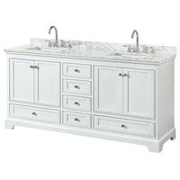 "Deborah 72"" Double Bathroom Vanity, White, Carrara Top, Square Sinks"