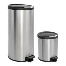 Happimess Oscar 30L and 5L Step-Open Trash Can, Stainless Steel and Black