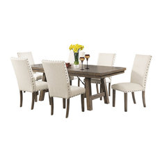 Dex 7-Piece Dining Set, Table and 6 Upholstered Side Chairs