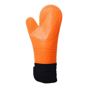 Silicon E Oven Mitts Cooking Oven Mitts Kitchen Gloves Orange, 2-Piece Set