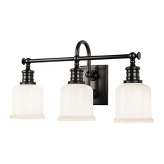 Keswick 3-Light Bath and Vanity With Opal Glossy Glass Shade, Old Bronze