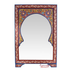Moroccan Mirror Arabesque Wood Burgundy Handmade Limited Edition