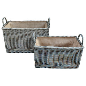 Antique Wash Rectangular Hessian Lined Wicker Basket, Set of 2