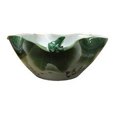 Oriental White Green Lotus Porcelain Frog Theme Fish Bowl Display cs2469
