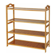 Contemporary Shoe Rack, Natural Bamboo Wood With MDF Board, 4 Tier