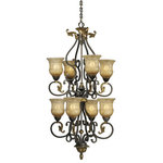 Vaxcel - Caesar 8 Light 2 Tier Bronze Chandelier - Elegance and sophistication is given a fresh meaning with the Caesar collection. The walnut patina bronze finish together with the intricately carved margaux glass creates a unique yet traditional look to different areas in your home.