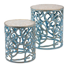 Imax Set of 2 Coral Mother of Pearl Tables