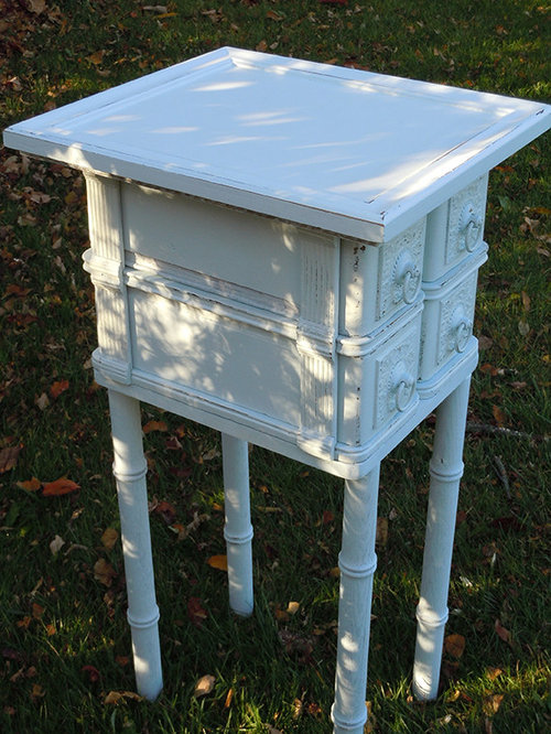 Shabby Chic Small Side Table With Drawers From Vintage Oak Sewing Machine   Side  Tables And