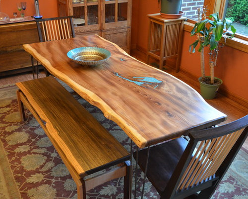 Natural Edge Slab American Elm Dining Room Table With Turquoise Inlay