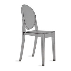 Victoria Ghost Chair by Kartell, Set of 2, Smoke Gray