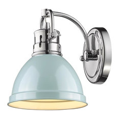 Golden Lighting Duncan 1 Light Bath Vanity, Shade: Seafoam, Chrome