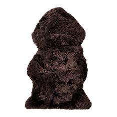 Sheepskin Genuine Sheepskin Rug, Dark Brown, 2' X 3'