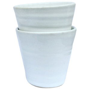 Tina Coffee Cups, Set of 2, White