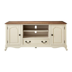 Ivory Entertainment Center With Ash Brown Top