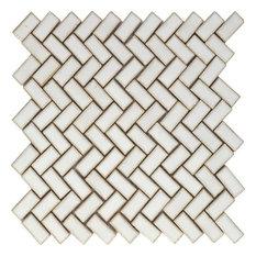 """11.3""""x12.8"""" Porcelain Mosaic Tango White, Roman, Set of 20"""