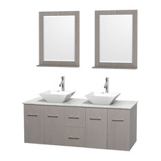 "60"" Gray Oak Double Vanity, White Carrera Marble Top, White Porcelain Sink"
