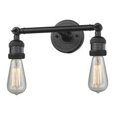 "2-Light Dimmable LED Bare Bulb 11"" Bath Fixture, Matte Black"