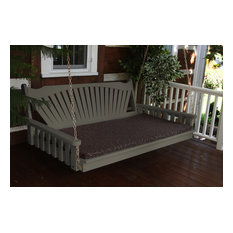 5' Pine Porch Swing Bed, Fanback Design, Olive Gray Stain