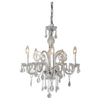 Chandelier With Five Candle Shape Light Holders, Clear