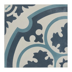 """7.88""""x7.88"""" Cement Floor and Wall Tile, Sky, Queen Mary"""