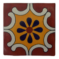 "4""x4"" Handpainted Mexican Talavera Tiles, Set of 12"