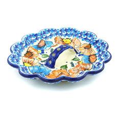 "Polmedia Polish Pottery 9"" Stoneware Egg Plate"